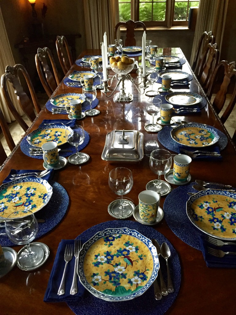 The beautifully arranged dining room table at Old Monterey Inn.
